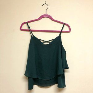 Emerald Forest Green Tiered Crossback Cami - L